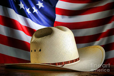 Stetson Photograph - Cowboy Hat And American Flag by Olivier Le Queinec