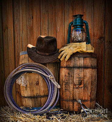 Wooden Barrel Photograph - Cowboy Hat And Bronco Riding Gloves by Paul Ward