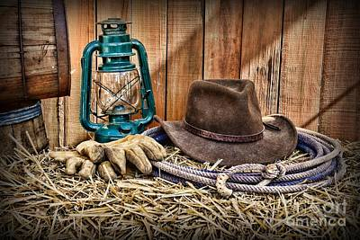 Wooden Barrel Photograph - Cowboy Hat And Rodeo Lasso by Paul Ward