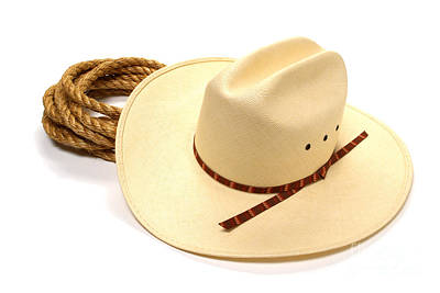 Cowboy Hat Photograph - Cowboy Hat And Rope by Olivier Le Queinec