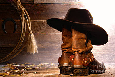 Hat Photograph - Cowboy Hat On Boots by Olivier Le Queinec
