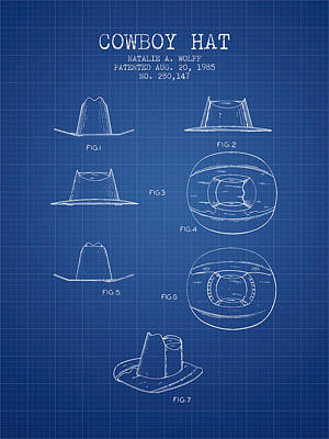 Clothes Clothing Drawing - Cowboy Hat Patent From 1985 - Blueprint by Aged Pixel