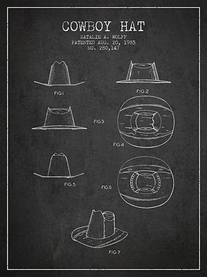 Clothes Clothing Drawing - Cowboy Hat Patent From 1985 - Charcoal by Aged Pixel