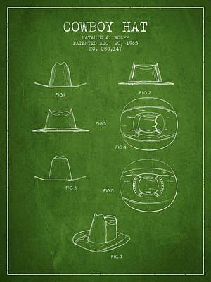 Clothes Clothing Drawing - Cowboy Hat Patent From 1985 - Green by Aged Pixel