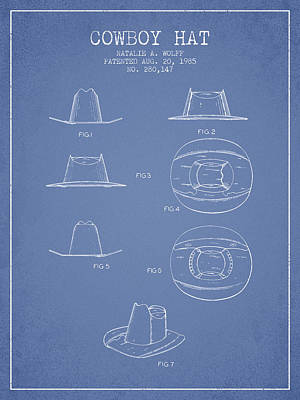 Clothes Clothing Drawing - Cowboy Hat Patent From 1985 - Light Blue by Aged Pixel