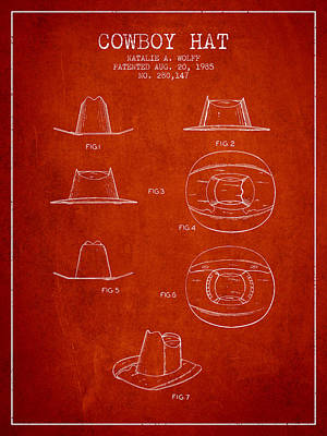 Clothes Clothing Drawing - Cowboy Hat Patent From 1985 - Red by Aged Pixel
