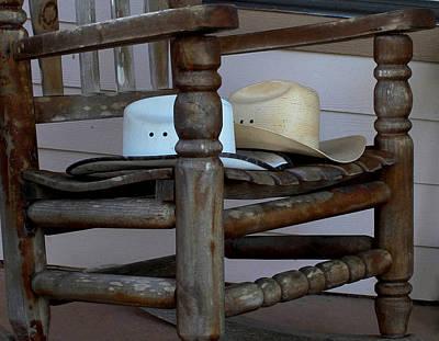 Western Themed Photograph - Cowboy Hats In A Chair by Mechala  Matthews