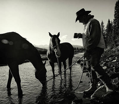 Working Cowboy Photograph - Cowboy Having His Morning Coffee by Deb Garside