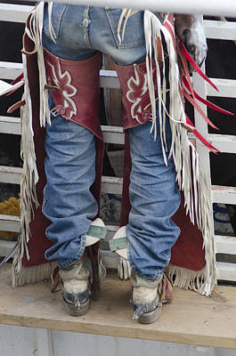 Of Rodeo Events Photograph - Cowboy In Chaps Boots And Spurs by Shelley Dennis