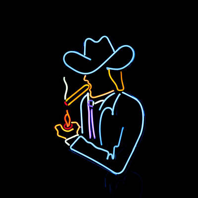 Cowboy In Neon Art Print by Art Block Collections
