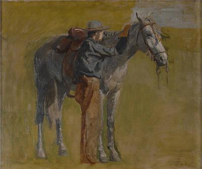 Western Art Digital Art - Cowboy In The Badlands by Thomas Eakins