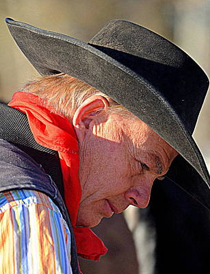 Cowboy In Thought Art Print by Barbara Dudley