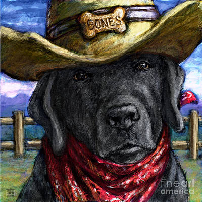 Mixed Media - Cowboy Lab - Black by Kathleen Harte Gilsenan