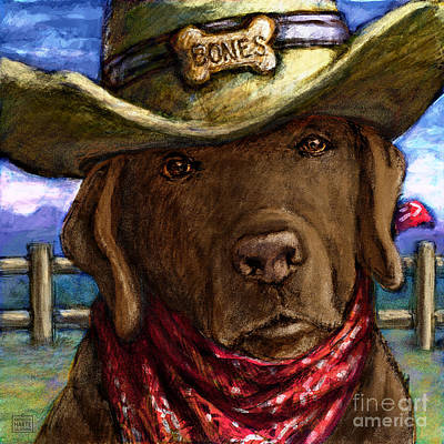 Chocolate Labrador Retriever Mixed Media - Cowboy Lab - Chocolate by Kathleen Harte Gilsenan