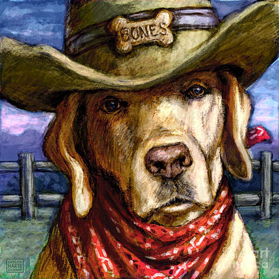 Retrievers Mixed Media - Cowboy Lab - Yellow by Kathleen Harte Gilsenan