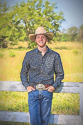 Cowboy Leaning On Fence Art Print