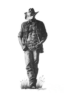 Drawing - Cowboy by Marianne NANA Betts