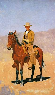 Cowboy Mounted On A Horse Art Print by Frederic Remington