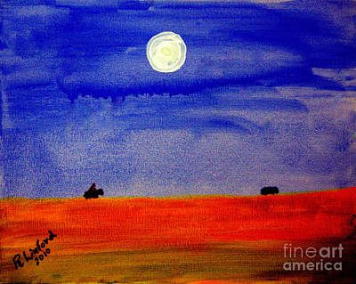 Painting - Cowboy Night Roundup Last One In by Richard W Linford