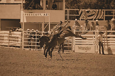 Prescott Photograph - Cowboy On A Bucking Horse by Stormys Unique   Creations