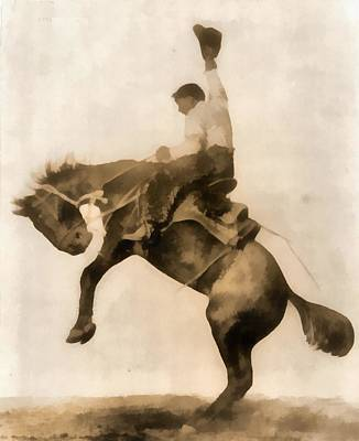 Roping Horse Painting - Cowboy On Bucking Bronco by Dan Sproul