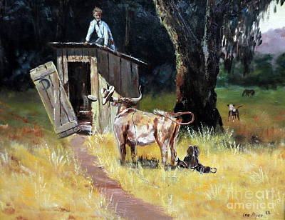 Roping Horse Painting - Cowboy On The Outhouse  by Lee Piper