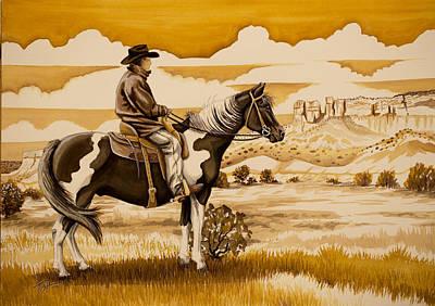 Cowboy On The Range Art Print