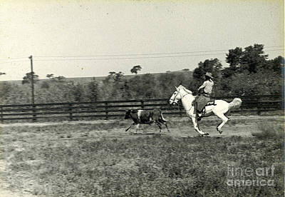 Photograph - Cowboy Roping 1935 by Patricia  Tierney