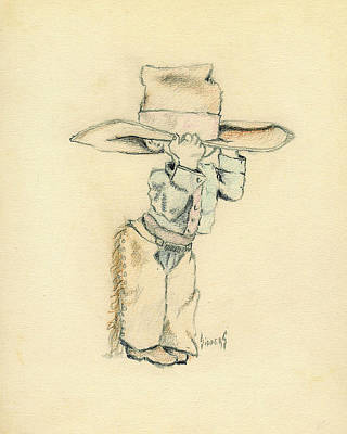 Cowboy Hat Drawing - Cowboy by Sam Sidders