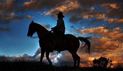 Art Print featuring the photograph Cowboy Silhouette by Ken Smith
