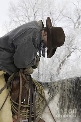 Cowboy Sleeps In The Saddle Art Print by Carol Walker