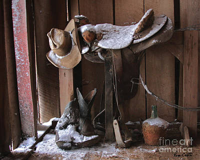 Barns In Snow Photograph - Cowboy Snow Boots by Pam Carter