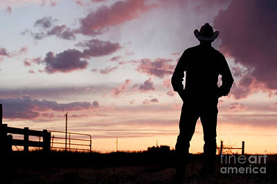 Cowboy Sunset Print by Cindy Singleton