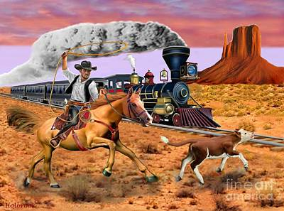 Digital Art - Cowboy To The Rescue by Glenn Holbrook