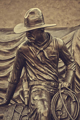 Western Bronze Photograph - Cowboy Tribute 1 by Toni Hopper