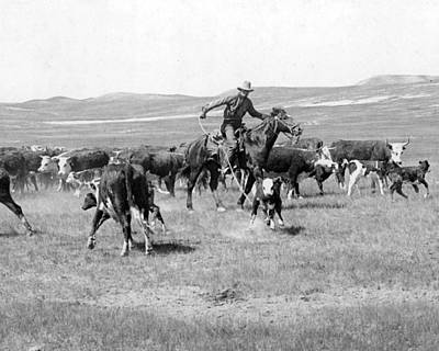 Cattle Drive Photograph - Cowboy Western Cattle Drive Vintage  by Retro Images Archive