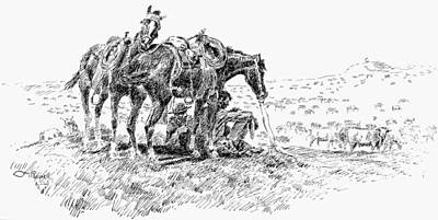 Wild Horse Drawing - Cowboys, 19th Century by Granger