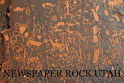 Newspaper Rock Photograph - Cowboys And Indians by David Lee Thompson