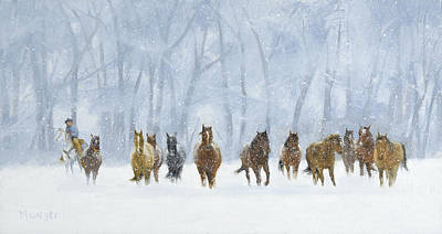 Falling Snow Painting - Cowboy's Cathedral by Roseann Munger