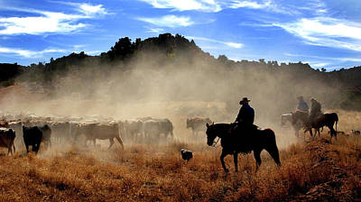 Cattle Drive Photograph - Cowboys Driving Cattle, Moab, Utah, Usa by Panoramic Images