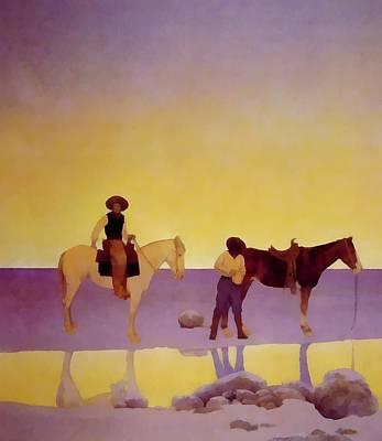 Cowboys Hot Springs Arizona Print by Maxfield Parrish