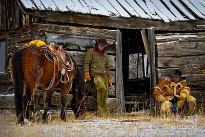 Cowboys On Break Art Print by Inge Johnsson