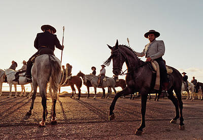 Spain Photograph - Cowboys On Horses by Ben Welsh / Design Pics