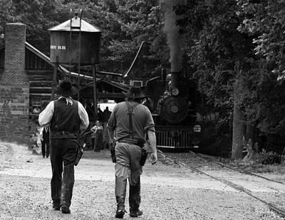 Digital Art - Cowboys Steam Engine Trains by Chris Flees