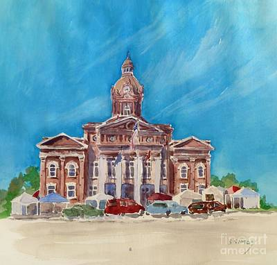 Art Print featuring the painting Coweta County Courthouse Painting by Sally Simon