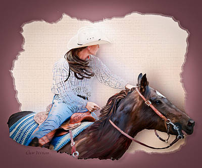 Painting - Cowgirl Barrel Racing 2 by Char Doonan