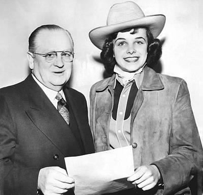Cowgirl Dianne Feinstein Art Print by Underwood Archives