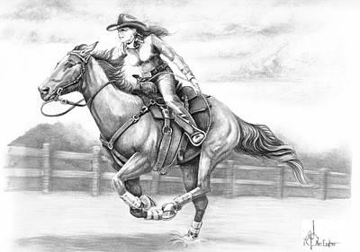Drawing - Cowgirl Full Gallop by Murphy Elliott