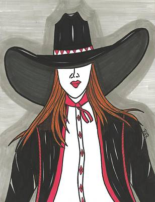 Cowboy Hat Mixed Media - Cowgirl In Red And Black by Ray Ratzlaff