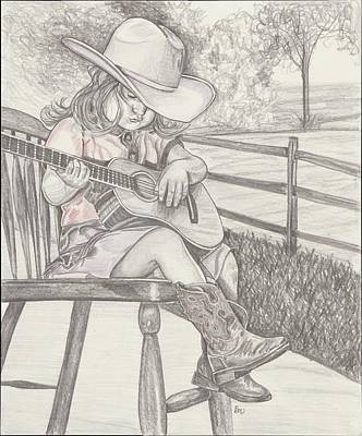 Drawing - Cowgirl Melody by Beverly Marshall